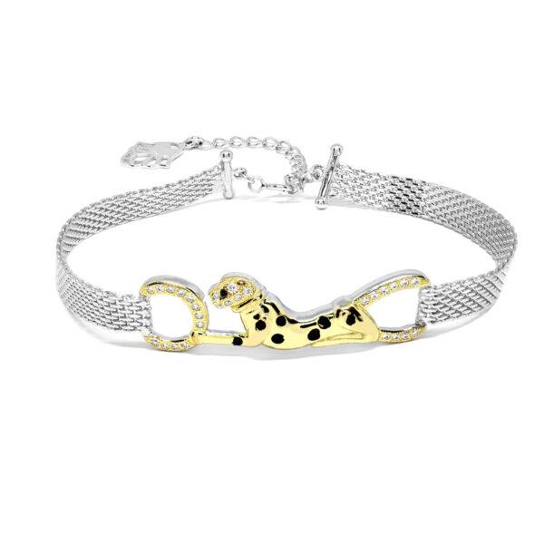Bratara din argint Golden Leopard
